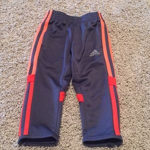 Adidas track pants w side lower zips EUC